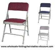Burgundy Fabric Metal Folding Chairs - Larry Harvey
